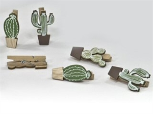 18617 SET 6 MOLLETTE CACTUS LEGNO 5cm ASSORTITE